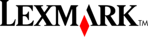 Lexmark logo black text with red logo diamond