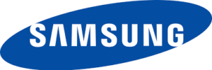 Samsung lgo blue background with white text
